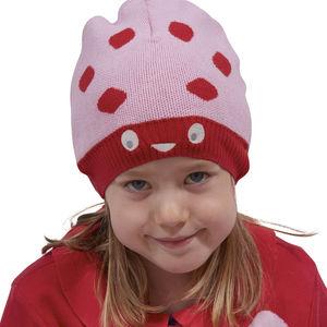 Organic Cotton Pink Girls Ladybird Knitted Beanie