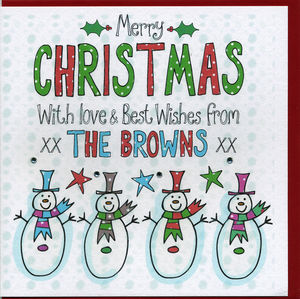 Multi Pack Personalised Snowmen Christmas Cards - cards
