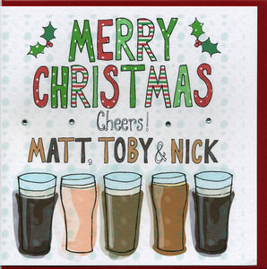 Multi Buy Personalised Beer Christmas Cards
