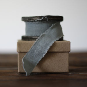 Blue Grey Linen Ribbon With Frayed Edges – 3m Roll - wedding stationery