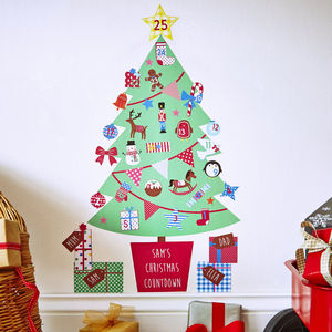 Personalised Advent Calendar Tree Wall Stickers - bedroom