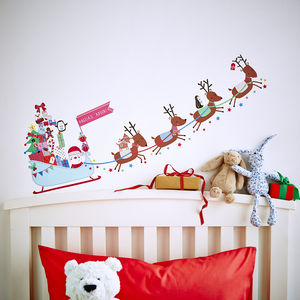 Personalised Advent Calendar Sleigh Wall Stickers - christmas home accessories