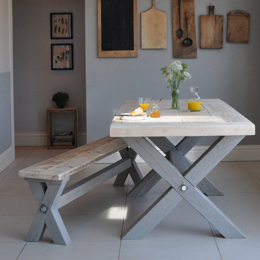 reclaimed timber refectory dining table by home barn