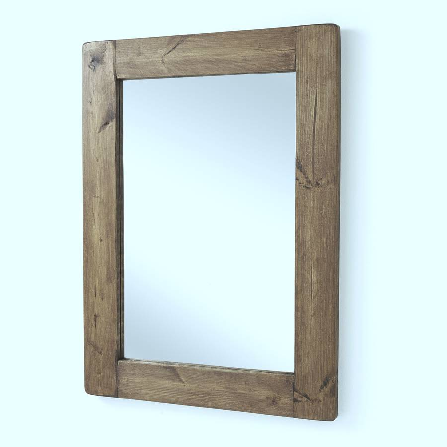 Chunky old wood framed mirrors by horsfall wright for Mirror with mirror border