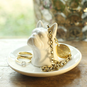 Ceramic Bulldog Jewellery Dish - jewellery storage & trinket boxes