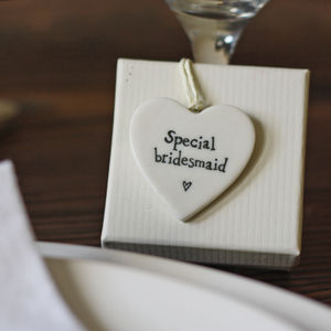 Special Bridesmaid Ceramic Heart Gift Tag - ribbon & wrap