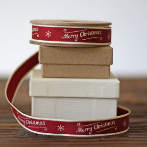 Ribbon Merry Christmas Scroll – 3m Roll - finishing touches