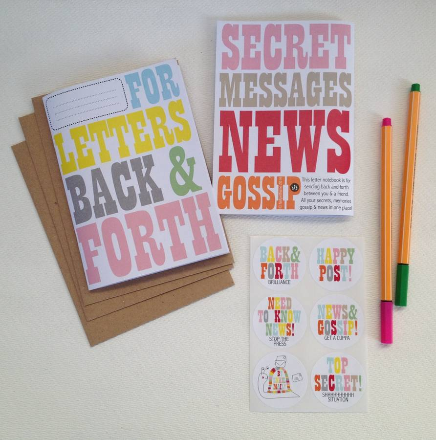 'Back And Forth' Letter Set With Notebook And Stickers