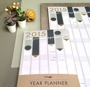 2015 Year Planner : Gold Foil - diaries & journals