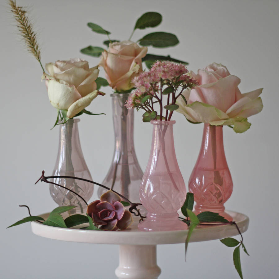 Dainty Pink Glass Bud Vases Set Of Four By The Wedding