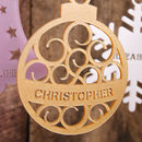 Personalised Bauble Decoration with Spiral Design in Pearlescent Caramel Gold