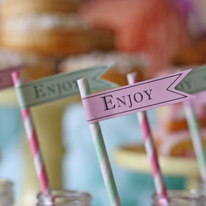 'Enjoy' Paper Flag Stickers For Straws - pretty pastels