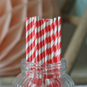 Set Of 30 Red Stripy Paper Straws