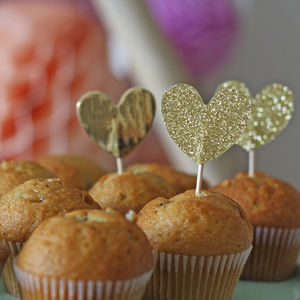 Gold Glitter Heart Cake Toppers - cake decoration