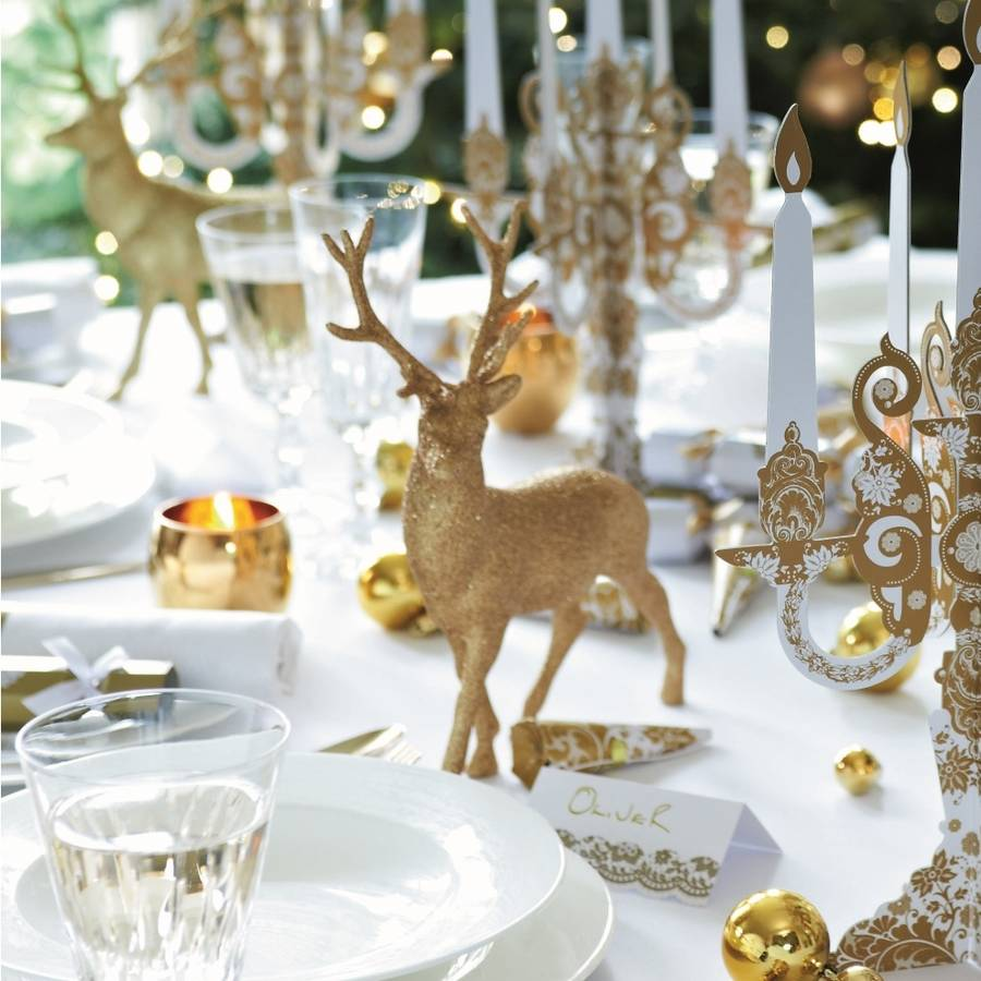 Gold reindeer christmas table decoration by bunting barrow - Deco de noel table ...