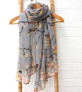 Soft Bird Print Scarf - gifts for her
