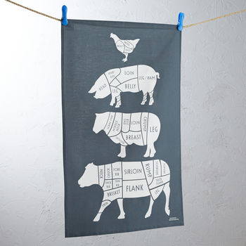 Charcoal Cuts of Meat Tea Towel