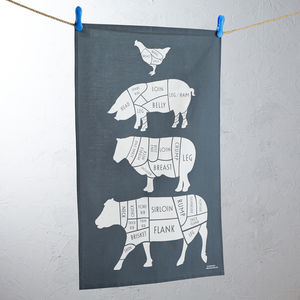 Butchers Cuts Of Meat Tea Towel - stocking fillers