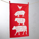 Red Cuts of Meat Tea Towel