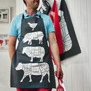 Butcher Cuts of Meat Apron Charcoal