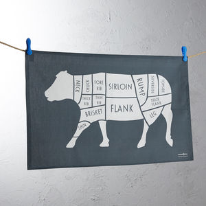 Butchers Cow / Beef Meat Cuts Tea Towel - kitchen accessories