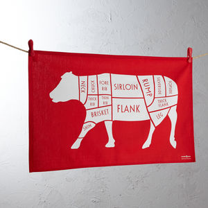 Butchers Cow / Beef Meat Cuts Tea Towel - summer sale