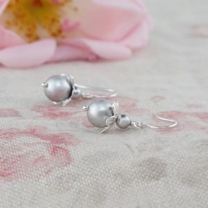 Blossom Grey Pearl And Sterling Silver Earrings - wedding fashion