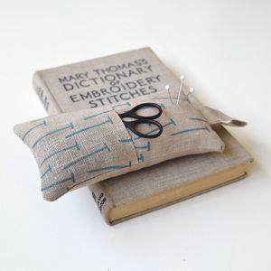 Linen Pin Cushion With Scissor Pouch - pin cushions