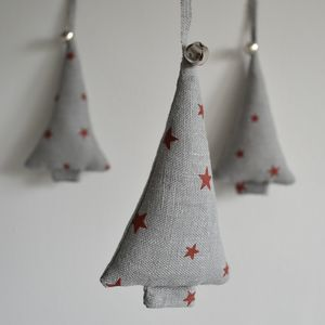Set Of Three Jingle Bell Linen Tree Decorations