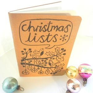 Christmas Lists Notebook. Hand Printed - christmas home accessories