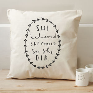 'She Believed' Cushion Cover - living room