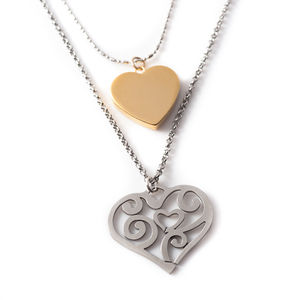 Layered Heart Necklace - charm jewellery