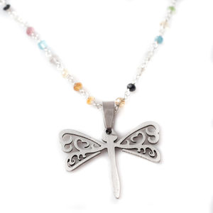 Dragonfly Semi Precious Charm Necklace