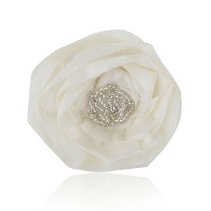 Ivory Silk And Silver Beaded Rose Hairclip