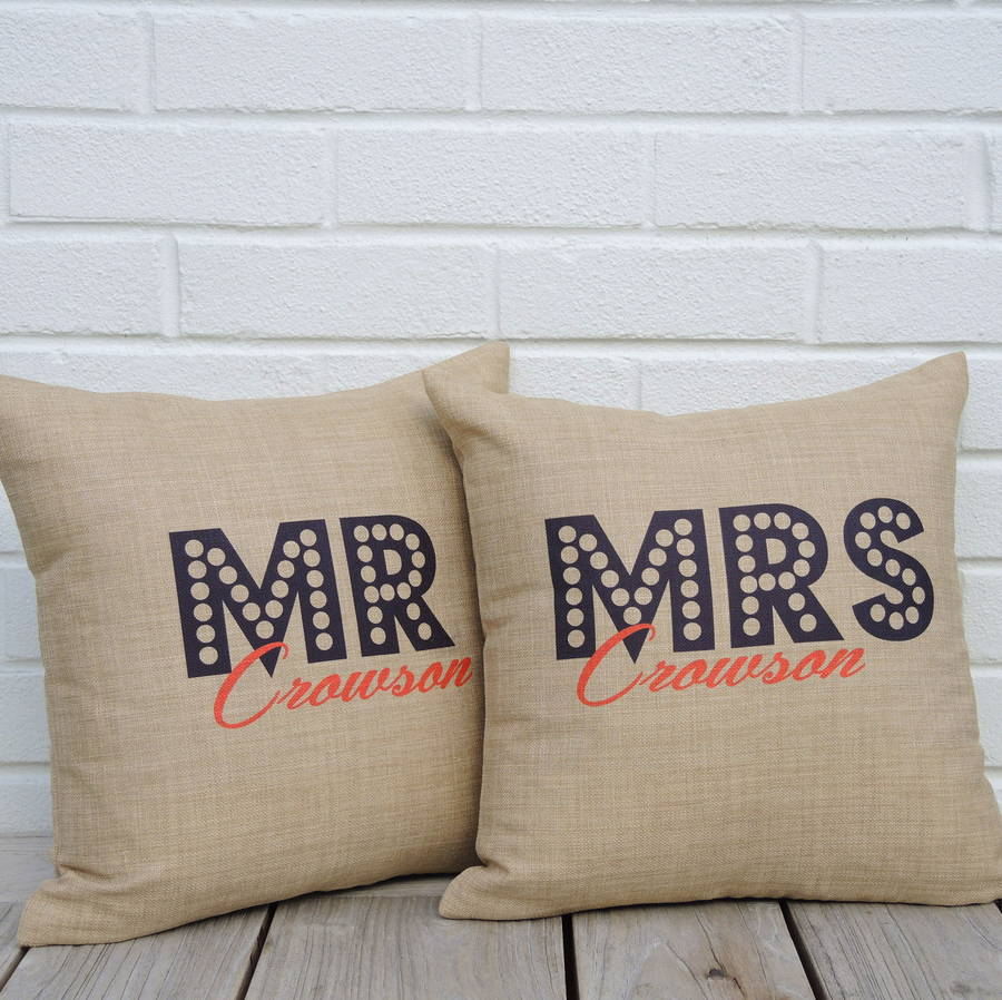 Personalised Mr And Mrs Cushions By The Alphabet Gift Shop