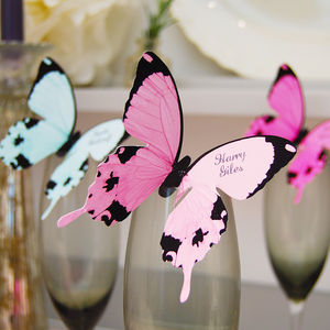 Butterfly Wine Glass Place Cards - pretty pastels
