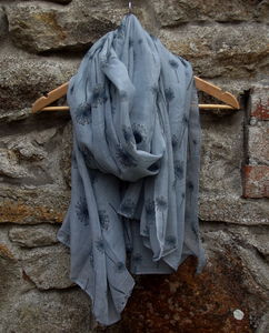 Grey Dandelion Print Scarf - for sisters