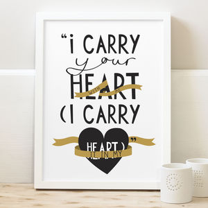 I Carry Your Heart Print - posters & prints for children