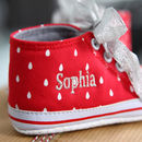 Personalised Red Glitter Spot High Top Trainers
