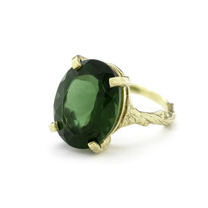 18k Gold Plated Sterling Silver Emerald Quartz Ring - rings