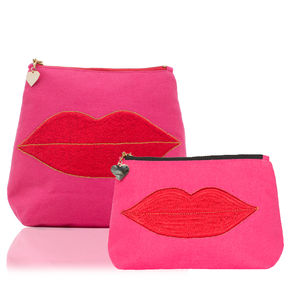 Pucker Up Set In Pink - make-up & wash bags