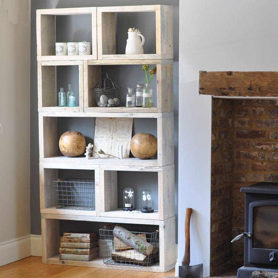 reclaimed timber box shelves by home barn. Black Bedroom Furniture Sets. Home Design Ideas