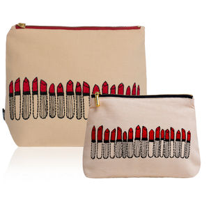 Cream Lipstick Pouch And Wash Bag Set - home