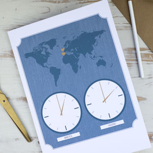 Large Personalised World Clock Map Card