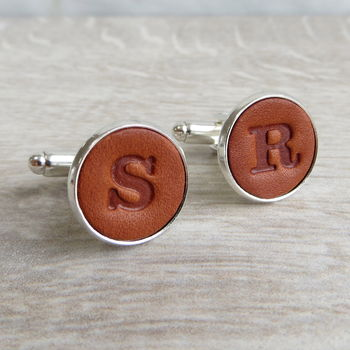 Personalised Embossed Real Leather Letter Cufflinks
