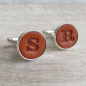 Embossed Leather Cufflinks - mens