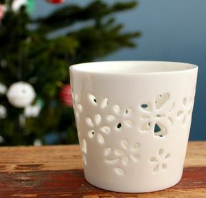 Ceramic Flowers Tealight Holder - candles & candle holders