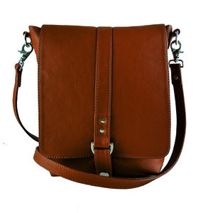 Tan Leather Merritt Messenger Bag - bags & purses