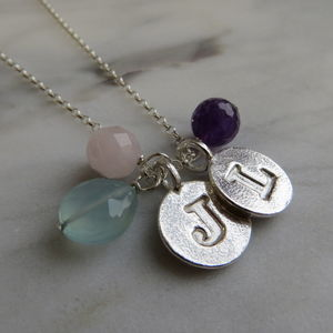 Silver Letter Charm Necklace - christening jewellery