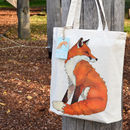 Fox Illustration Cotton Tote Bag